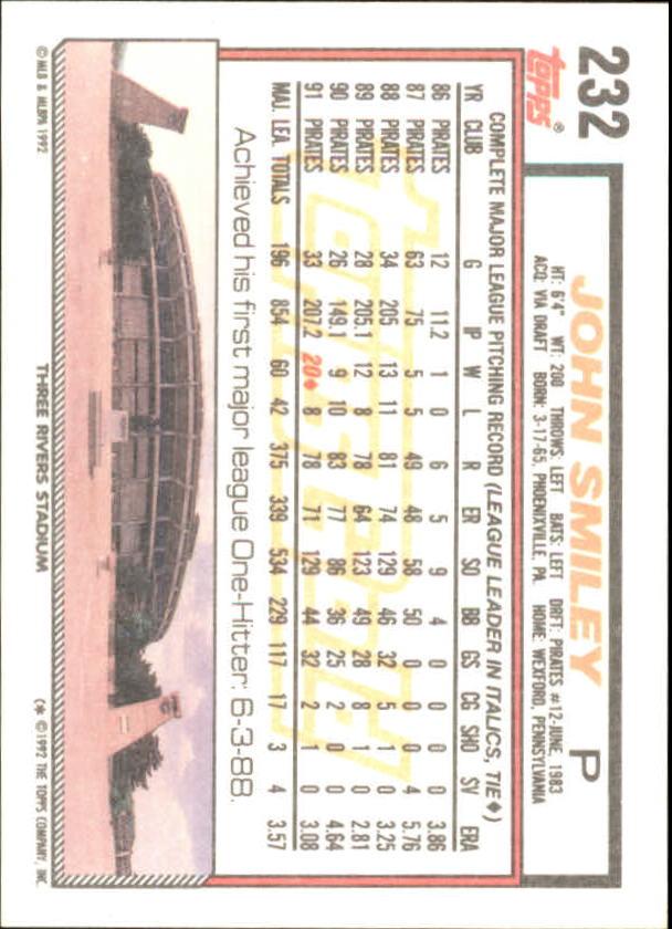 1992 Topps Gold Winners #232 John Smiley back image
