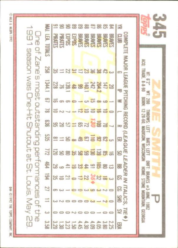 1992 Topps Gold Winners #345 Zane Smith back image