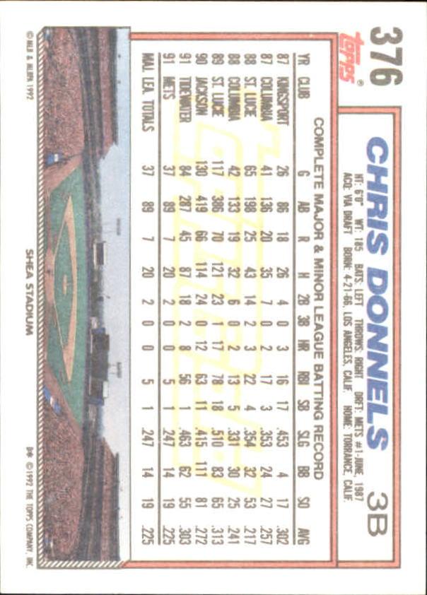 1992 Topps Gold Winners #376 Chris Donnels back image