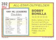 1992 Topps Gold Winners #392 Bobby Bonilla AS back image