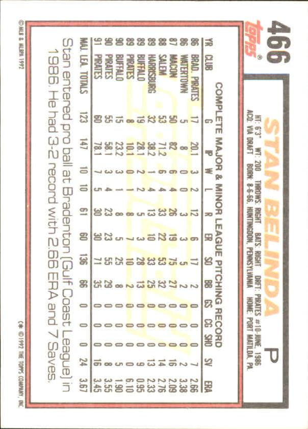 1992 Topps Gold Winners #466 Stan Belinda back image