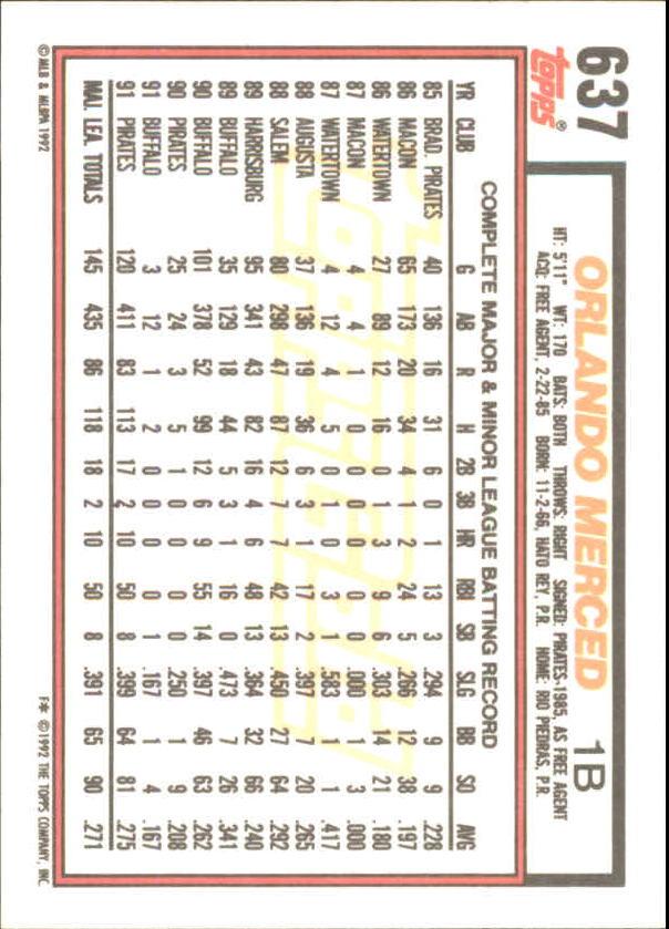 1992 Topps Gold Winners #637 Orlando Merced back image