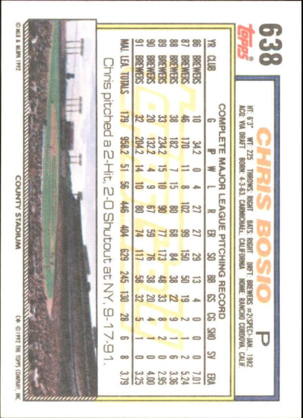 1992 Topps Gold Winners #638 Chris Bosio back image