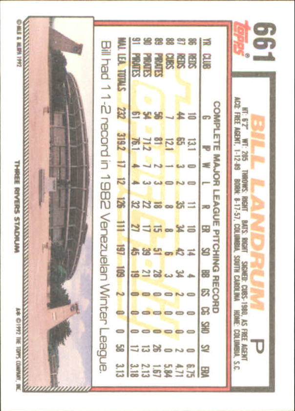 1992 Topps Gold Winners #661 Bill Landrum back image