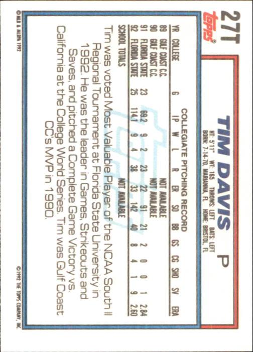 1992 Topps Traded #27T Tim Davis USA RC back image