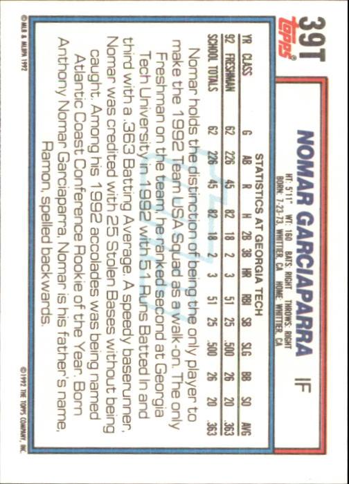 1992 Topps Traded #39T Nomar Garciaparra USA RC back image