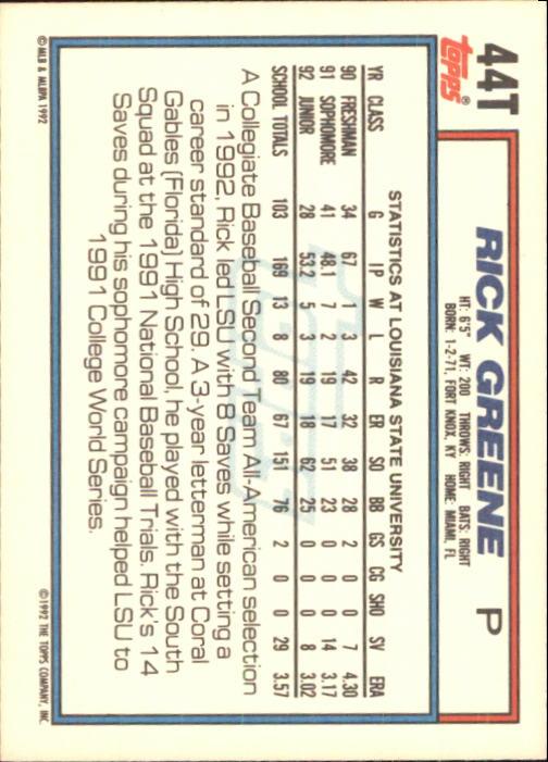 1992 Topps Traded #44T Rick Greene USA RC back image