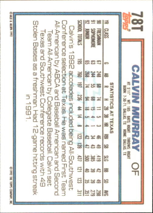 1992 Topps Traded #78T Calvin Murray USA RC back image