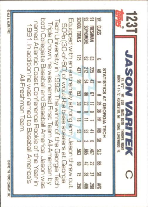 1992 Topps Traded #123T Jason Varitek USA RC back image
