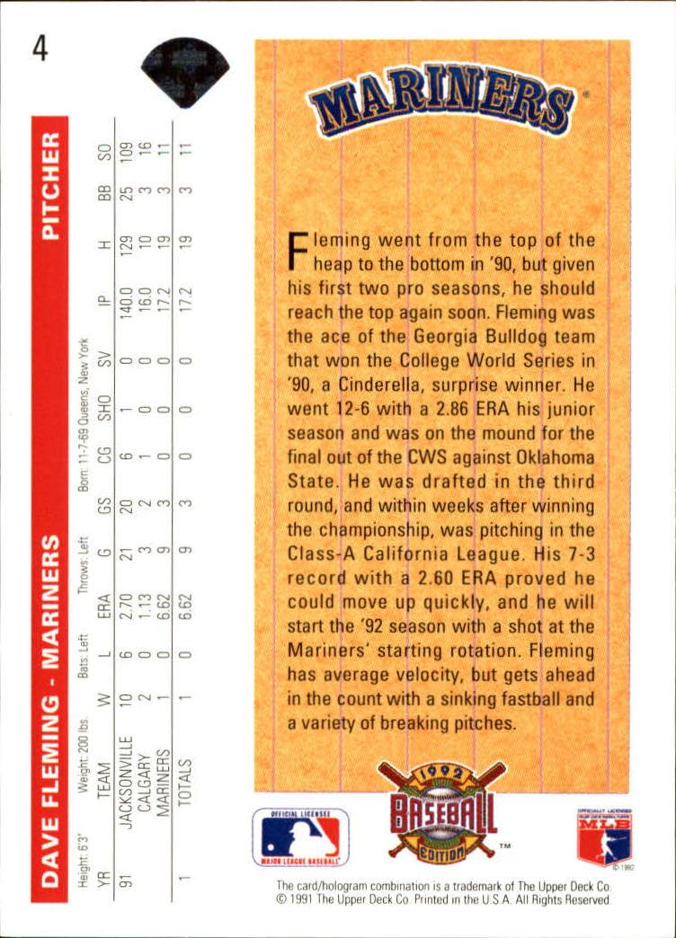 1992 Upper Deck #4 Dave Fleming back image