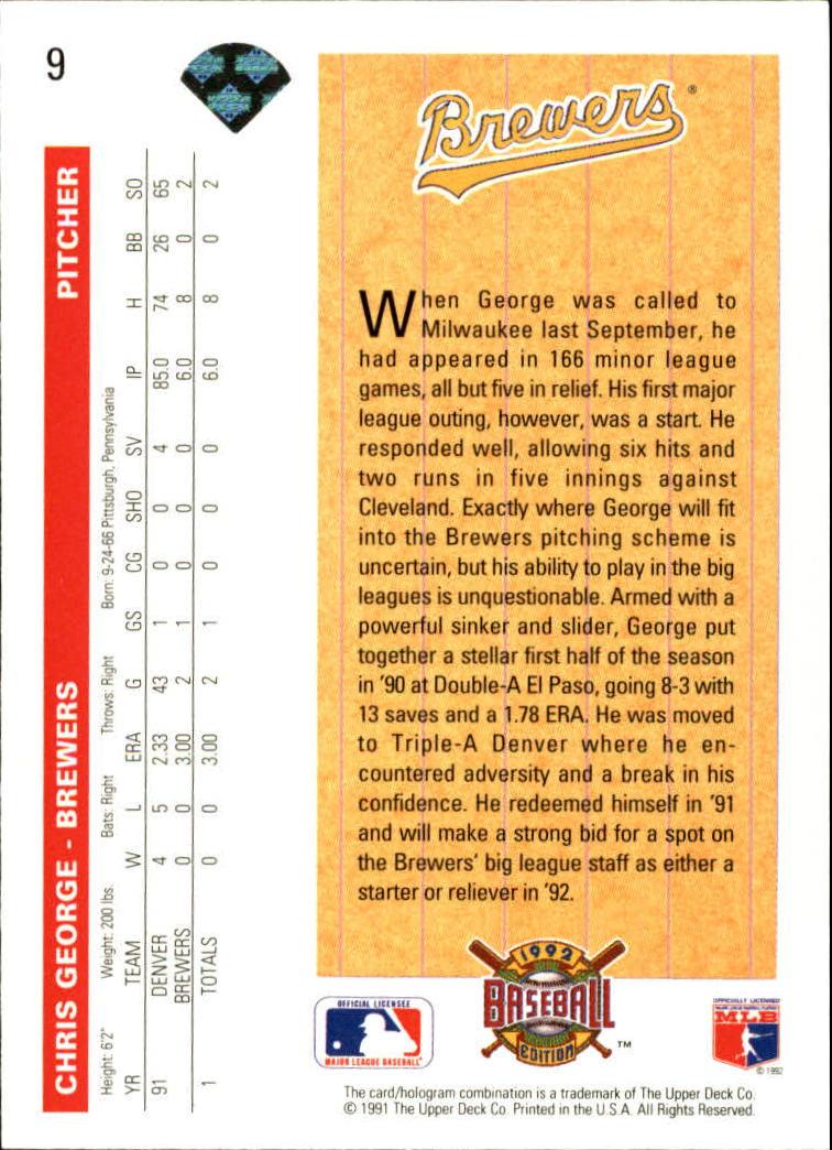 1992 Upper Deck #9 Chris George SR back image