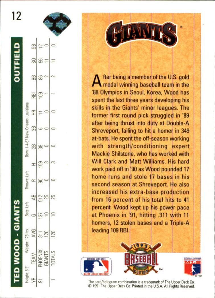 1992 Upper Deck #12 Ted Wood SR back image