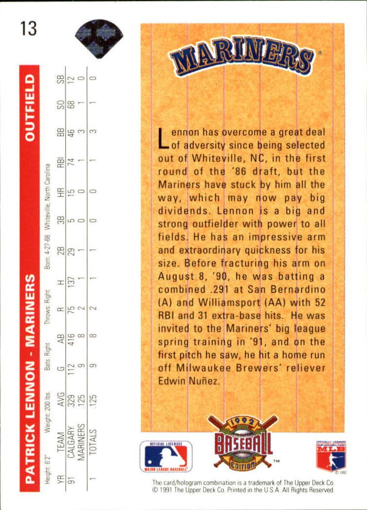 1992 Upper Deck #13 Patrick Lennon SR back image