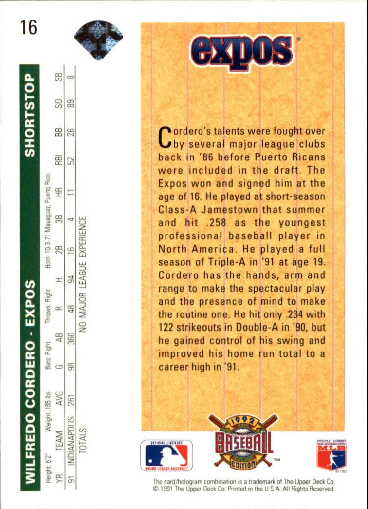 1992 Upper Deck #16 Wil Cordero SR back image