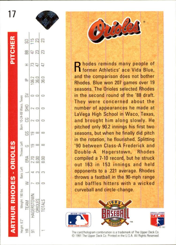 1992 Upper Deck #17 Arthur Rhodes SR back image