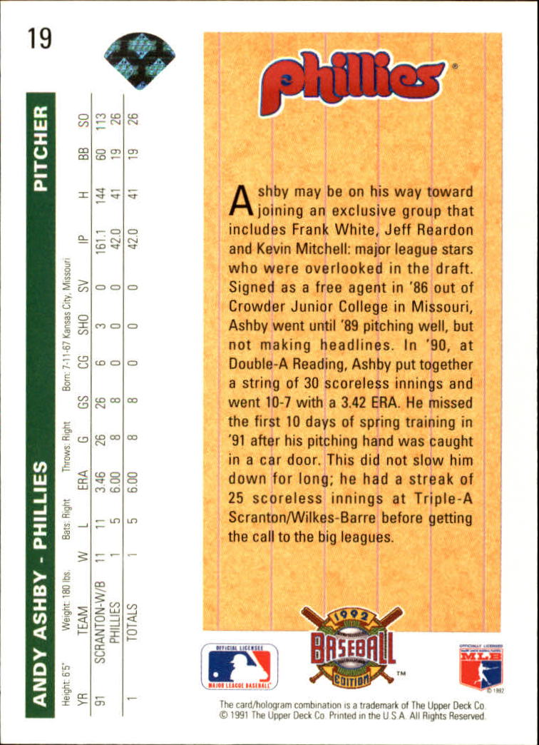 1992 Upper Deck #19 Andy Ashby SR back image