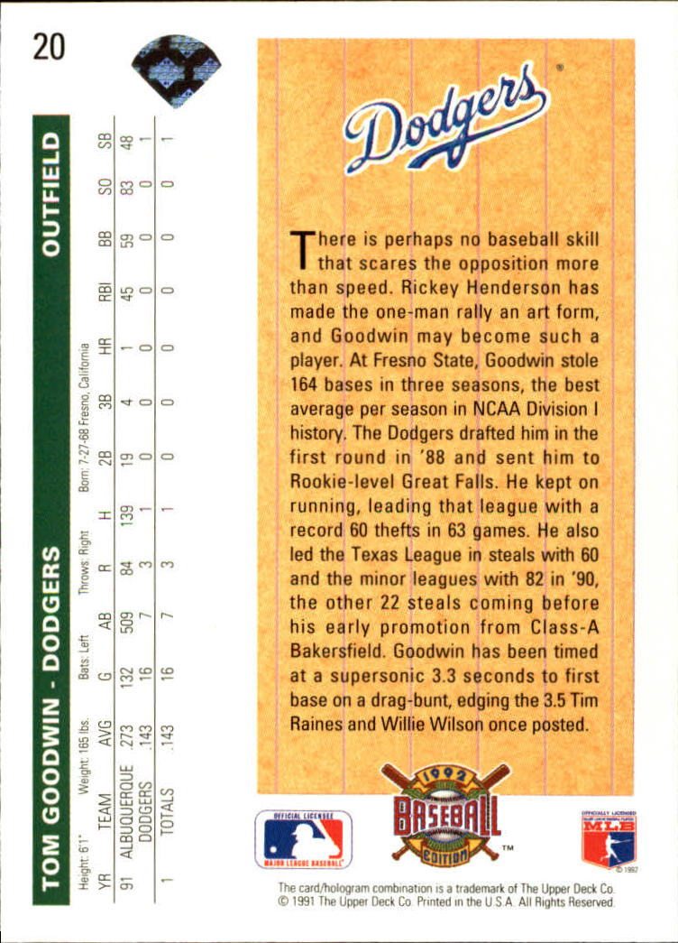 1992 Upper Deck #20 Tom Goodwin SR back image