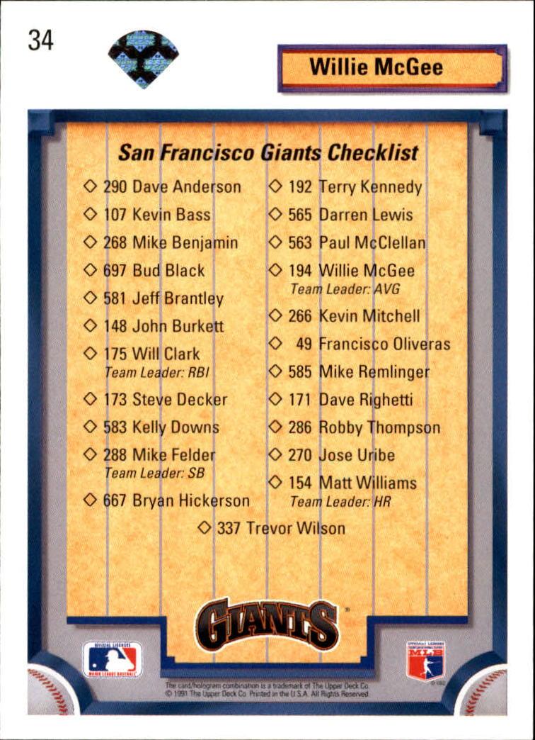 1992 Upper Deck #34 Willie McGee TC/San Francisco Giants back image