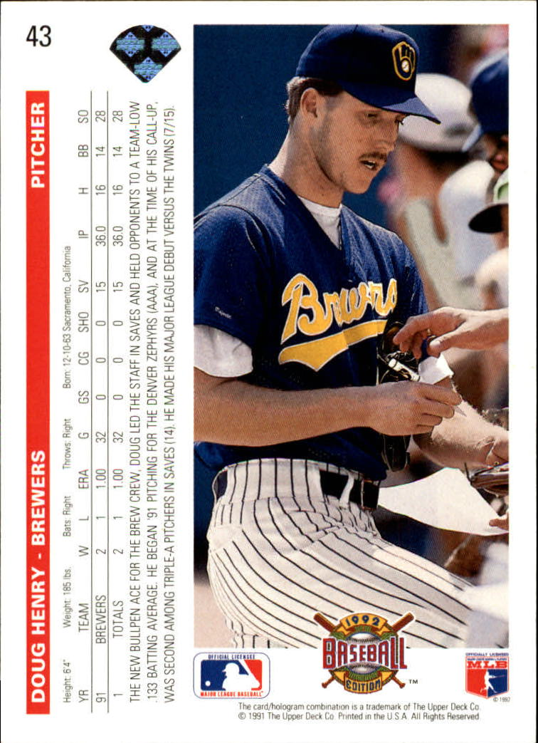 1992 Upper Deck #43 Doug Henry RC back image