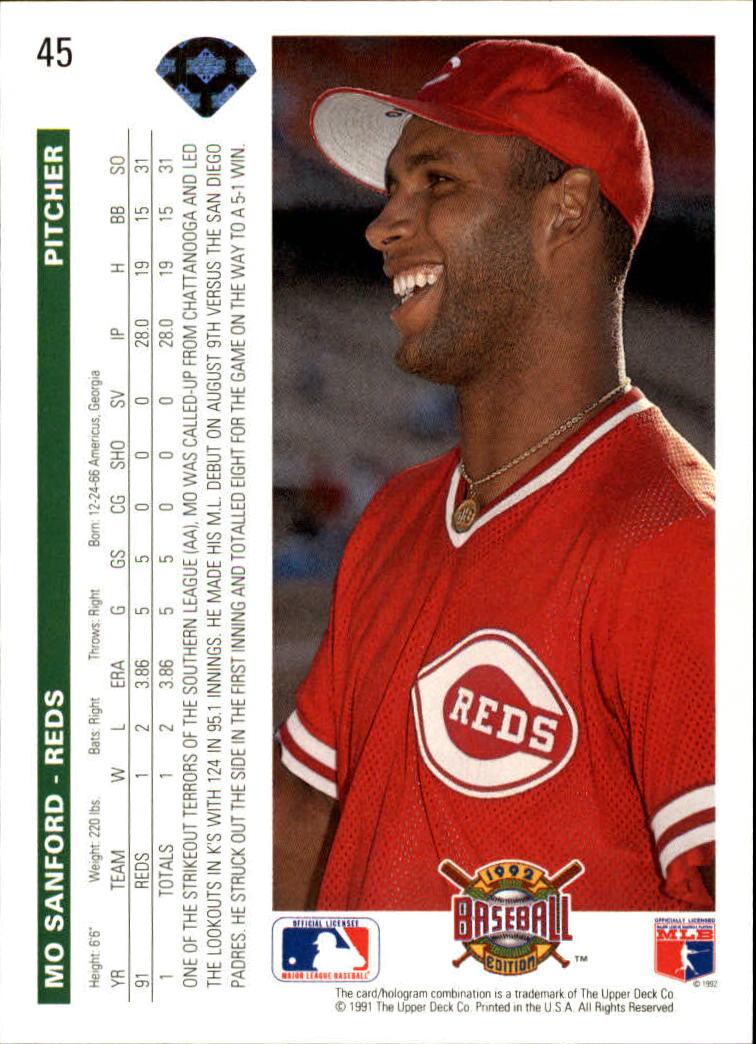 1992 Upper Deck #45 Mo Sanford back image