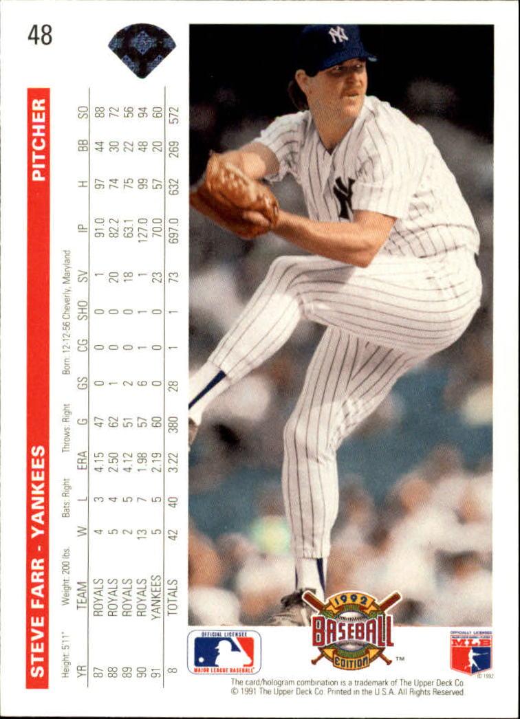 1992 Upper Deck #48 Steve Farr back image
