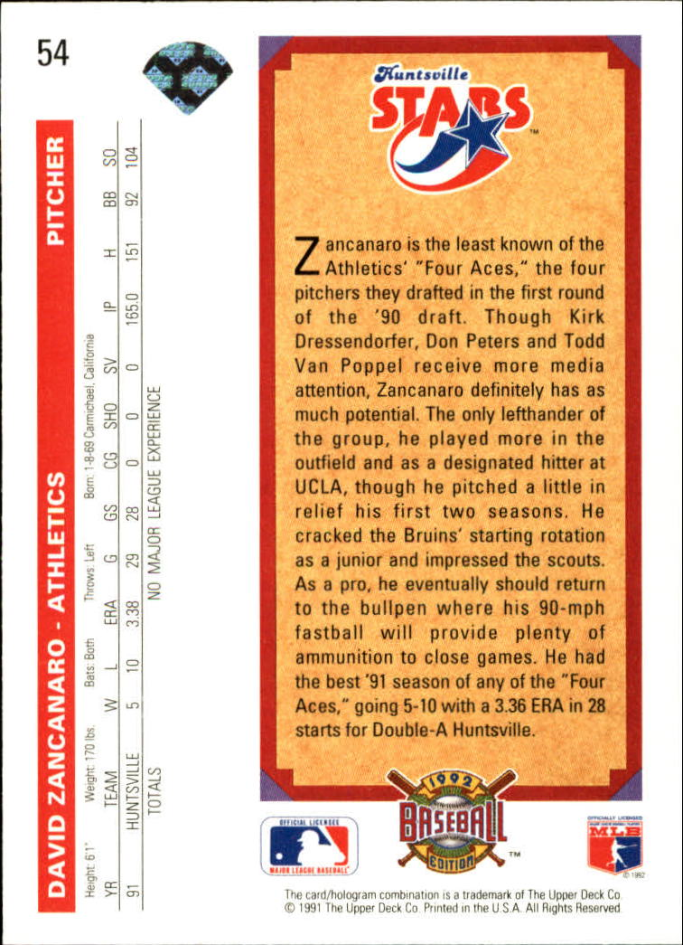 1992 Upper Deck #54 David Zancanaro TP back image