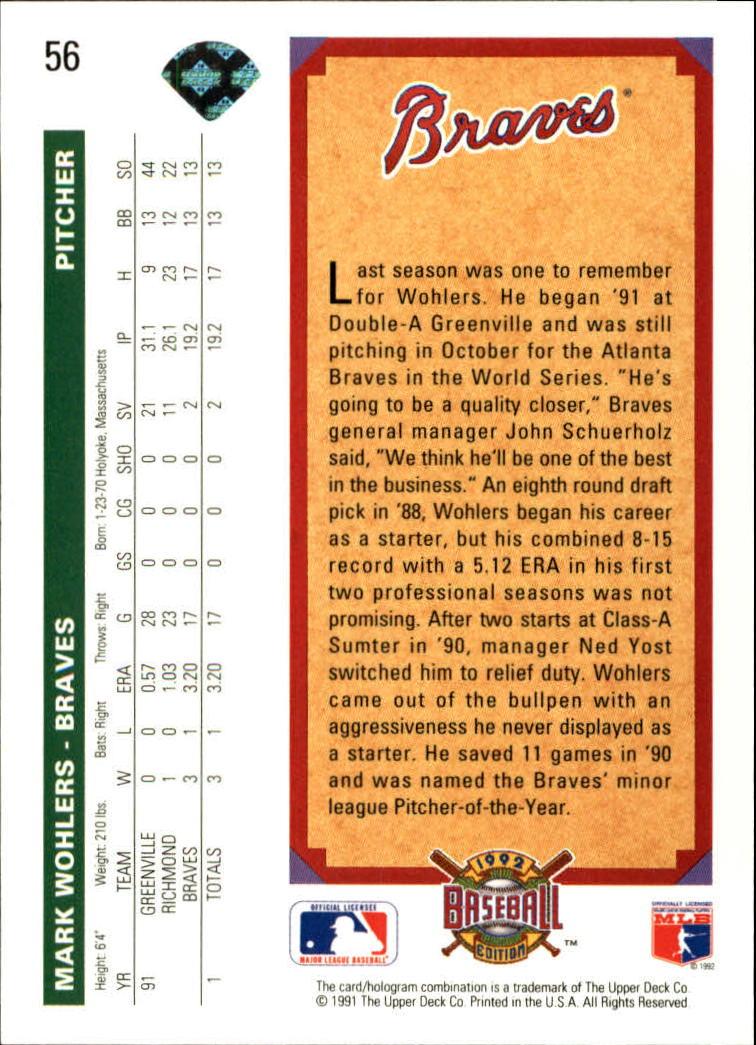 1992 Upper Deck #56 Mark Wohlers TP back image