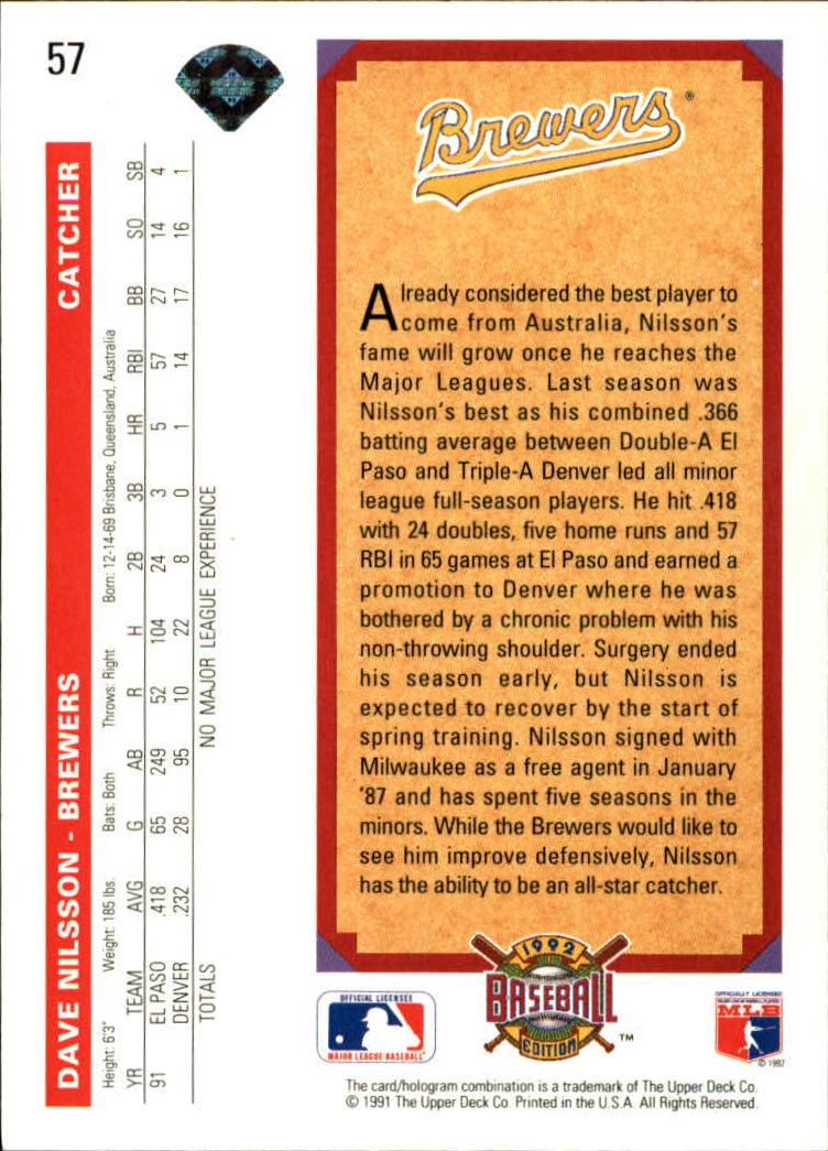 1992 Upper Deck #57 Dave Nilsson back image