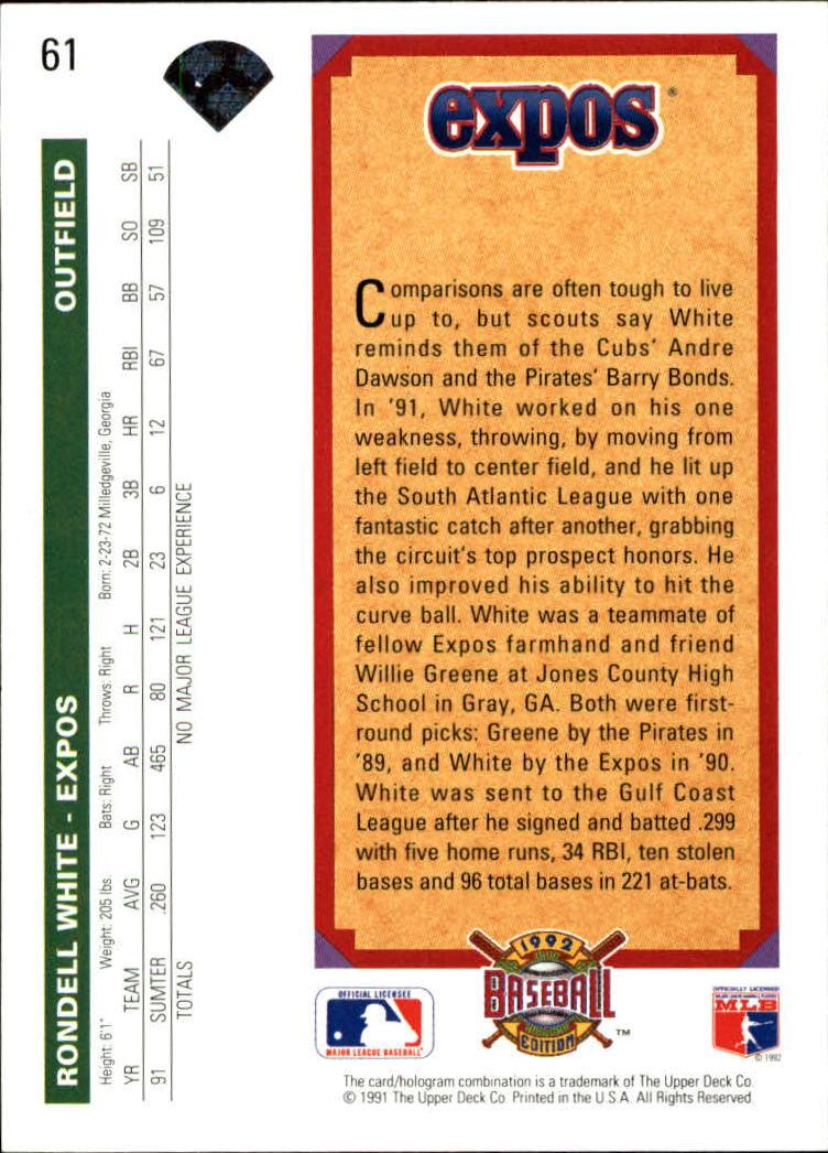 1992 Upper Deck #61 Rondell White back image