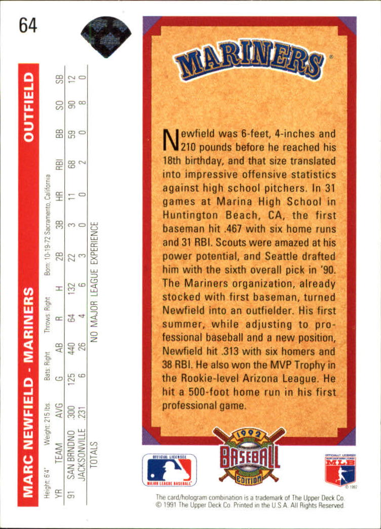 1992 Upper Deck #64 Marc Newfield back image