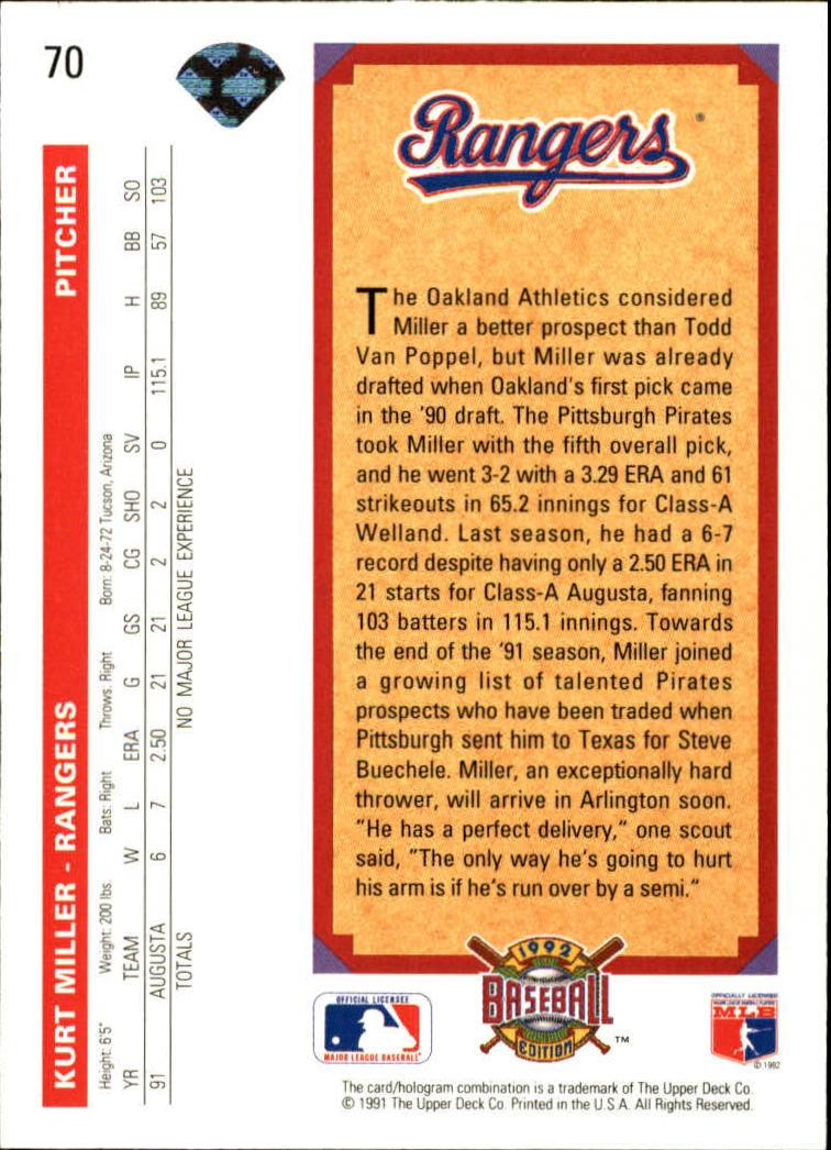 1992 Upper Deck #70 Kurt Miller TP back image