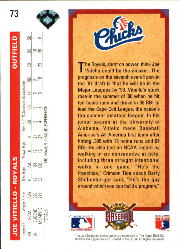 1992 Upper Deck #73 Joe Vitiello RC back image