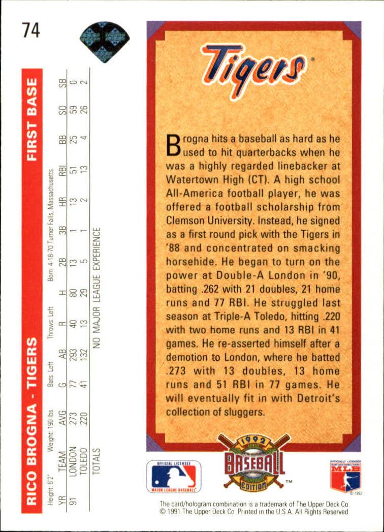 1992 Upper Deck #74 Rico Brogna TP back image