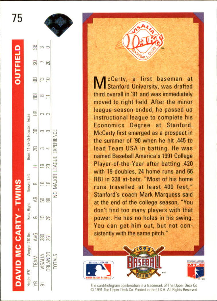 1992 Upper Deck #75 David McCarty RC back image