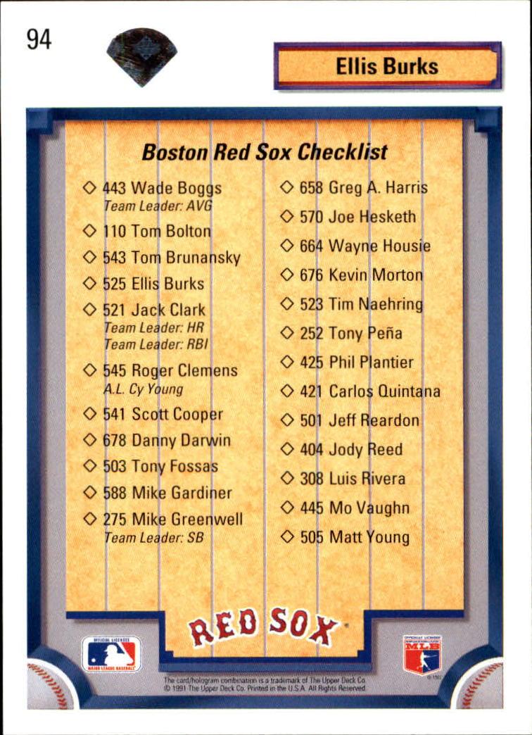 1992 Upper Deck #94 Ellis Burks TC/Boston Red Sox back image