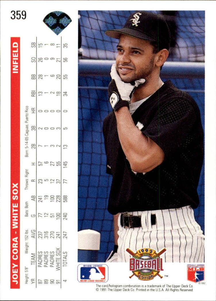 1992 Upper Deck #359 Joey Cora back image