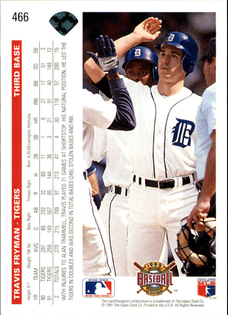1992 Upper Deck #466 Travis Fryman back image