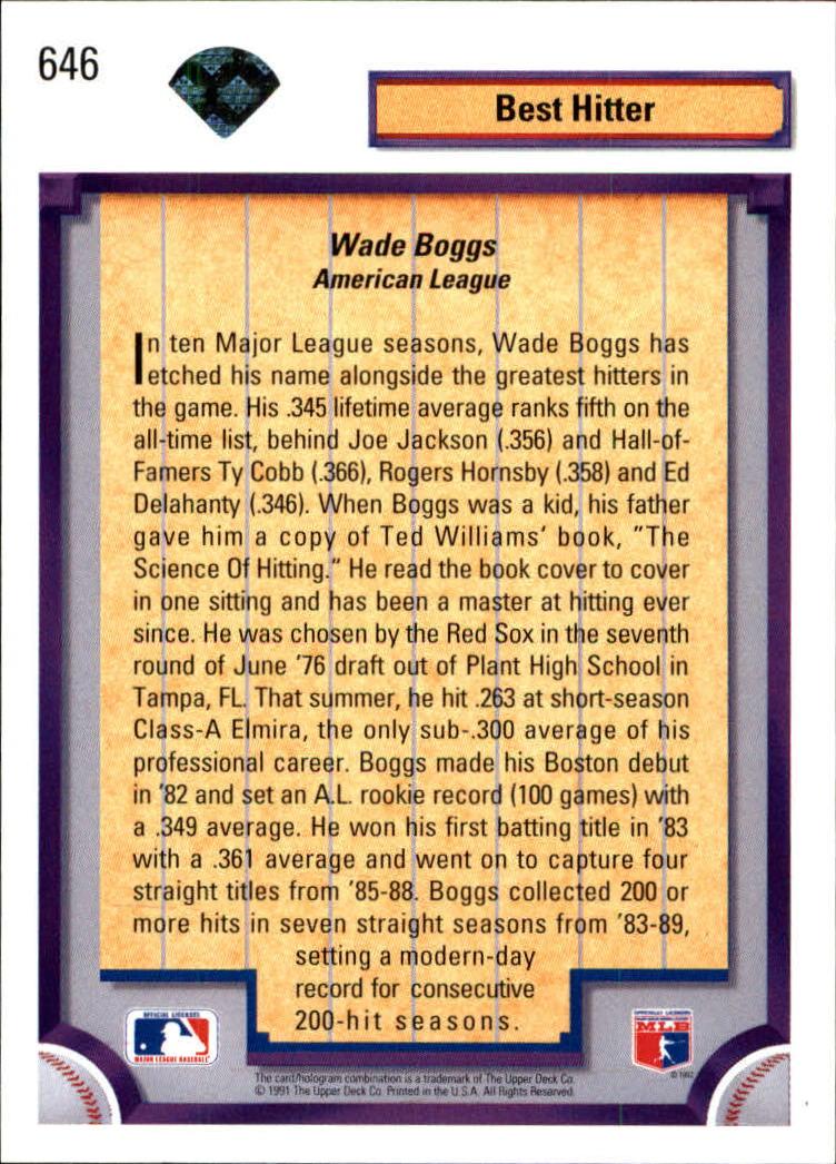 1992 Upper Deck #646 Wade Boggs DS back image