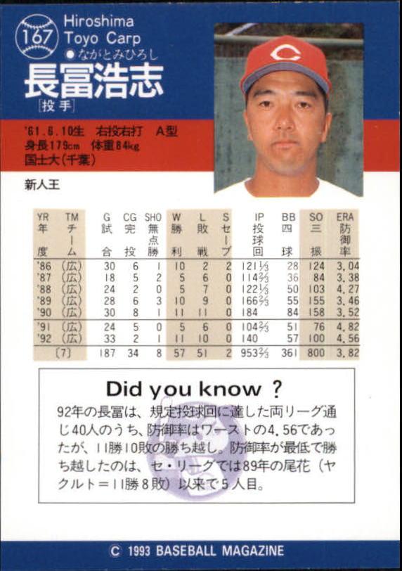 1993 BBM Japan #167 Hiroshi Nagatomi back image
