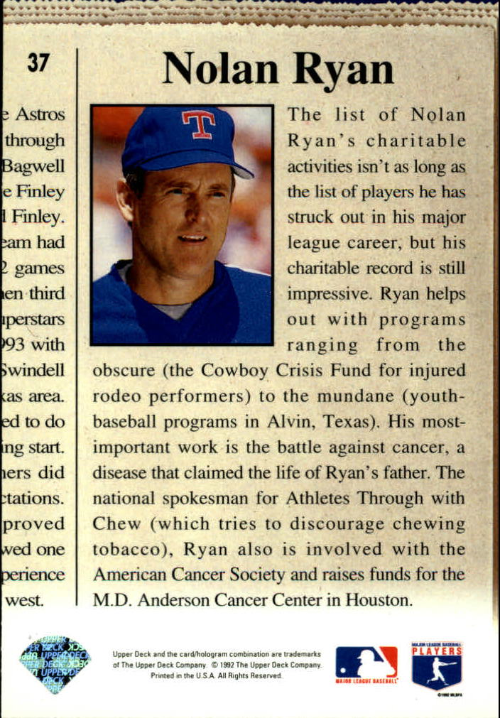 1993 Upper Deck #37 Nolan Ryan CH back image
