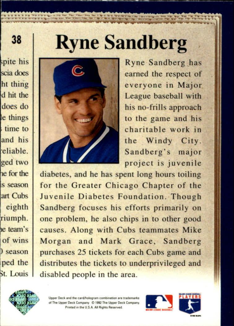 1993 Upper Deck #38 Ryne Sandberg CH back image