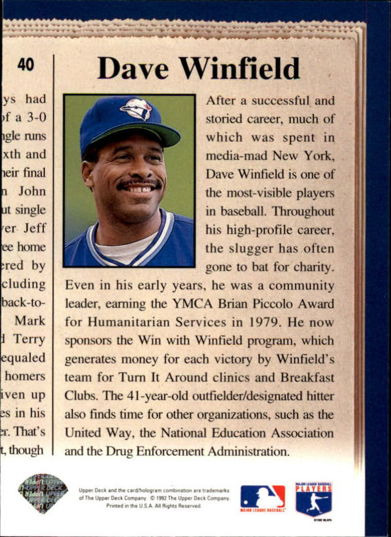 1993 Upper Deck #40 Dave Winfield CH back image