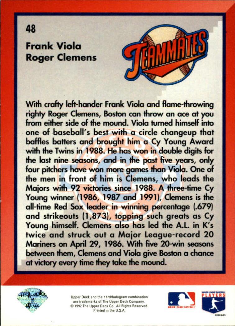 1993 Upper Deck #48 R.Clemens/F.Viola back image