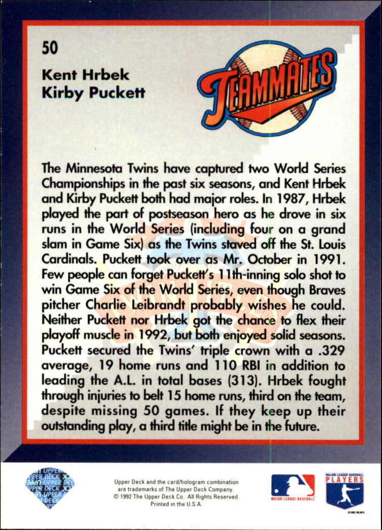 1993 Upper Deck #50 K.Puckett/K.Hrbek back image