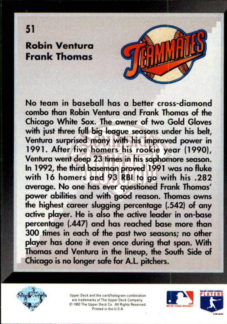 1993 Upper Deck #51 F.Thomas/R.Ventura back image