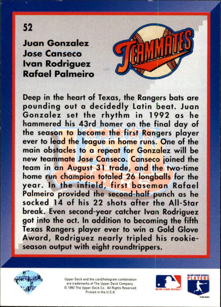 1993 Upper Deck #52 Cans/IRod/Gonz/Palmeiro back image