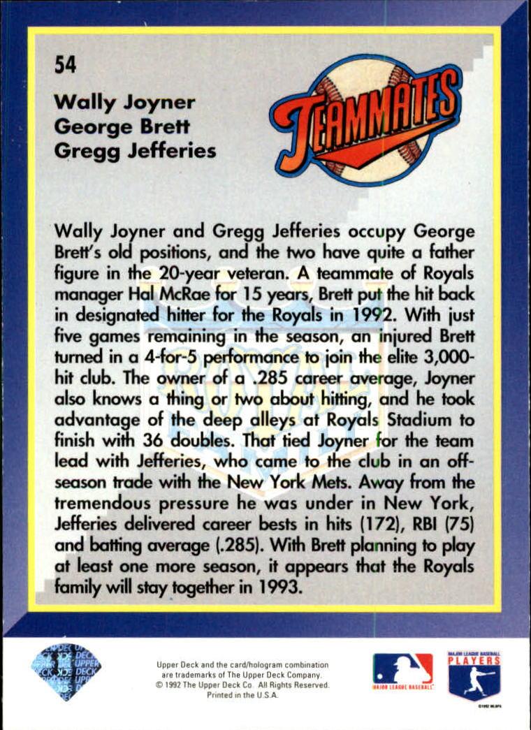 1993 Upper Deck #54 Joyner/Jefferies/Brett back image