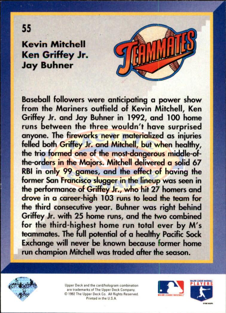 1993 Upper Deck #55 K.Griffey/Buhner/Mitchell back image