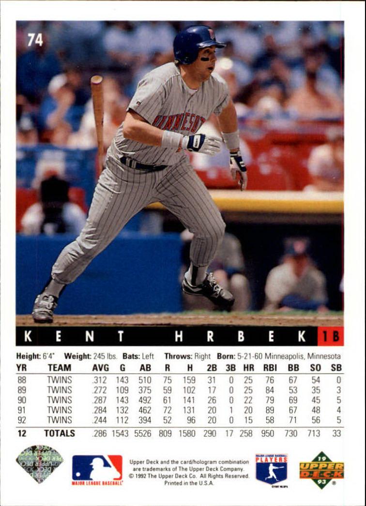 1993 Upper Deck #74 Kent Hrbek back image