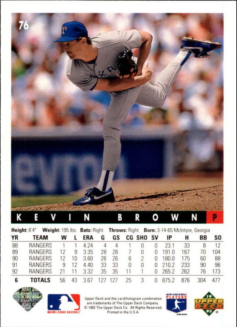 1993 Upper Deck #76 Kevin Brown back image